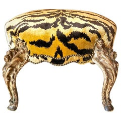 French Carved Giltwood Stool