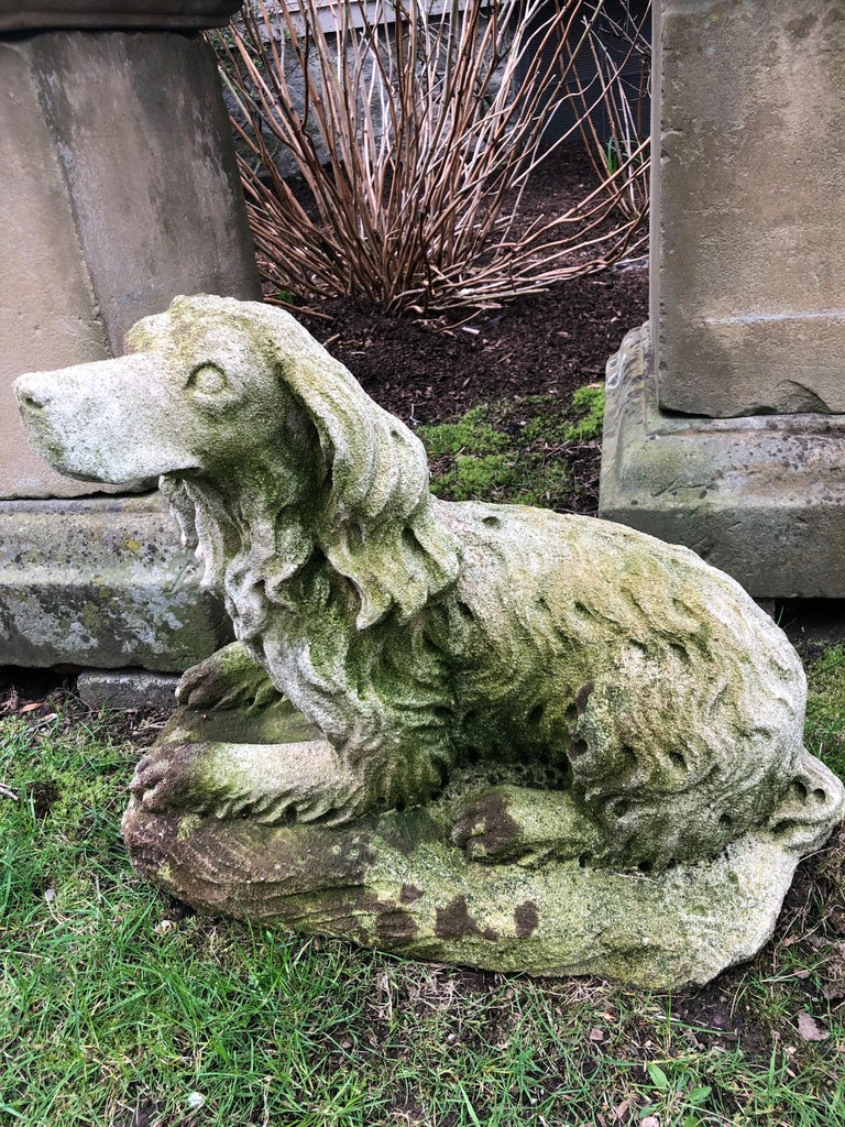 French Carved Limestone Curly-Coated Spaniel Dog Statue For Sale 5