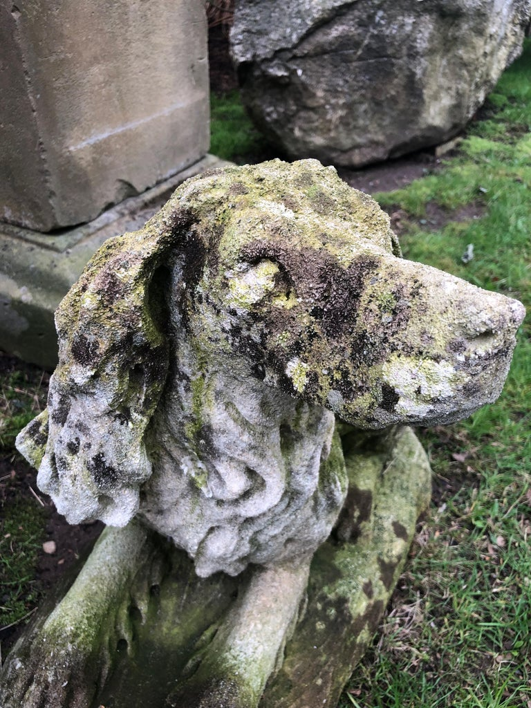 French Carved Limestone Curly-Coated Spaniel Dog Statue For Sale 6