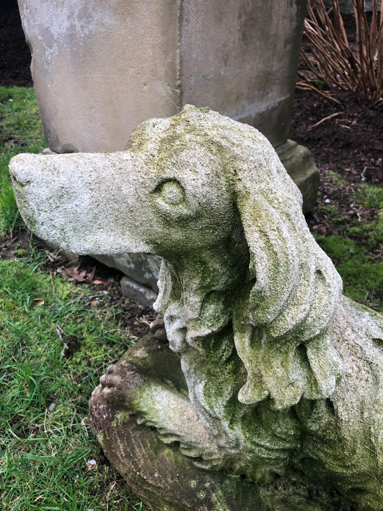 French Carved Limestone Curly-Coated Spaniel Dog Statue For Sale 7