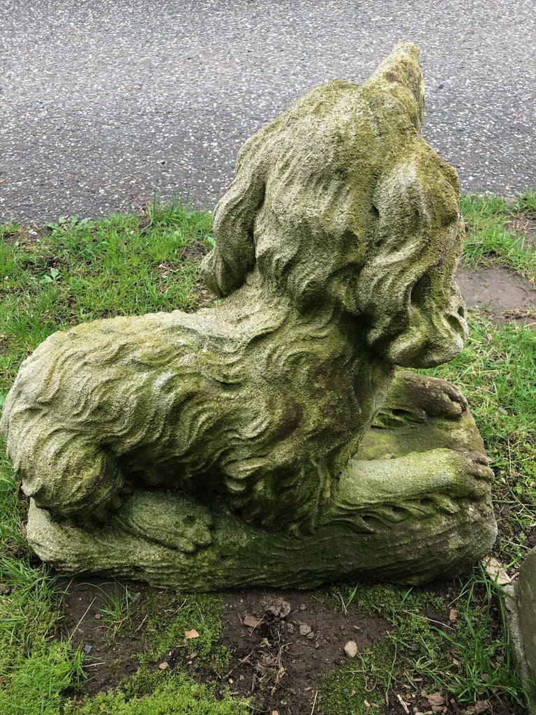 French Carved Limestone Curly-Coated Spaniel Dog Statue For Sale 10