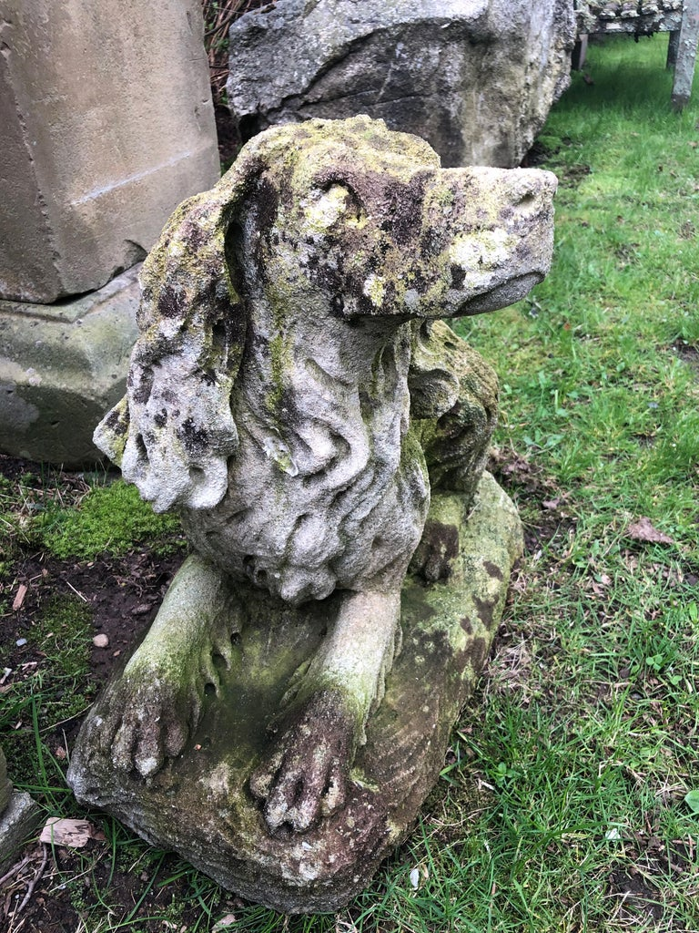 French Carved Limestone Curly-Coated Spaniel Dog Statue For Sale 4