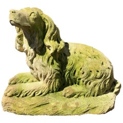 French Carved Limestone Curly-Coated Spaniel Dog Statue