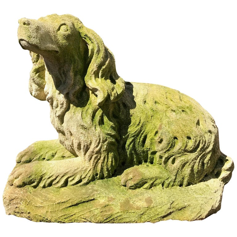 French Carved Limestone Curly-Coated Spaniel Dog Statue For Sale