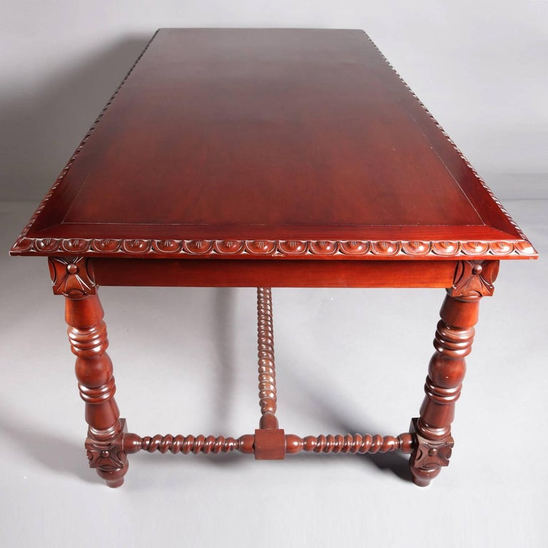 20th Century French Carved Mahogany Barley Twist & Rosette Conference or Dining Table 20th C For Sale