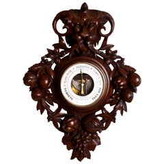 French Carved Mahogany Wall Barometer
