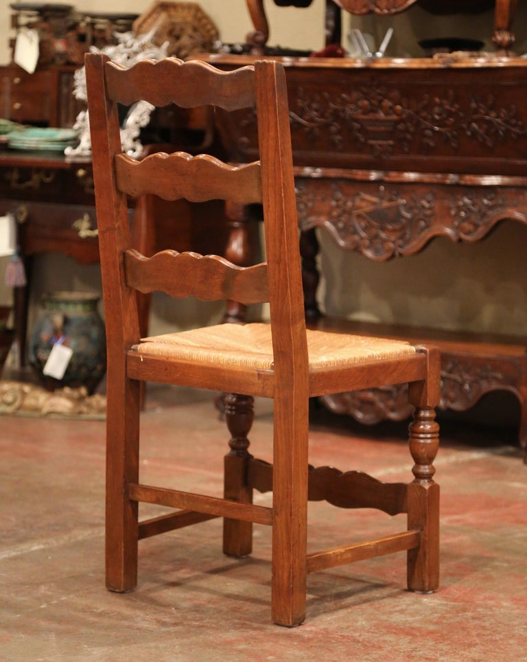 French Carved Oak Ladder Back Chairs with Rush Woven Seat, Set of Six For Sale 4
