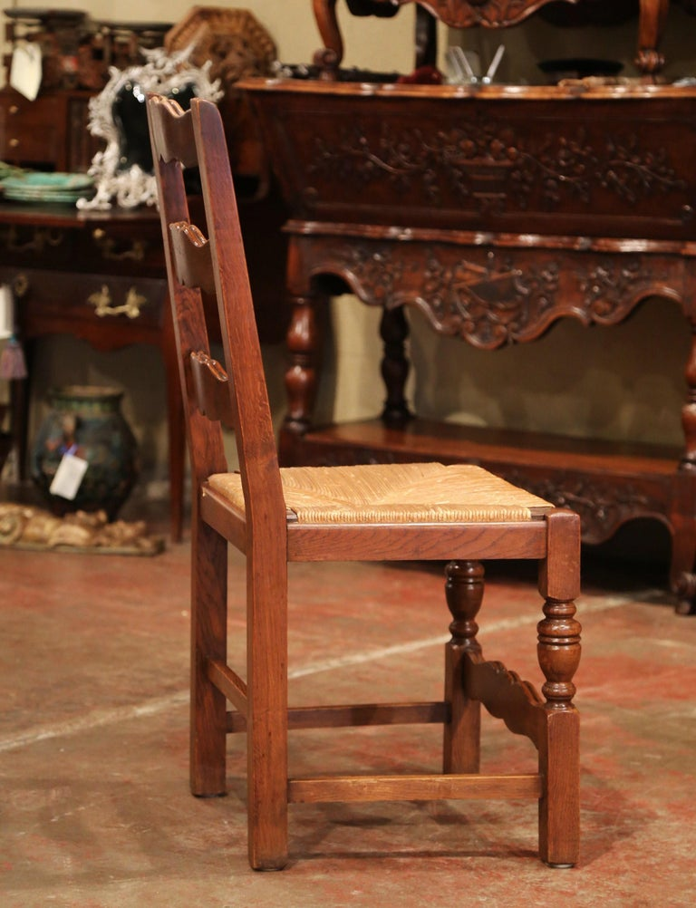 French Carved Oak Ladder Back Chairs with Rush Woven Seat, Set of Six For Sale 5