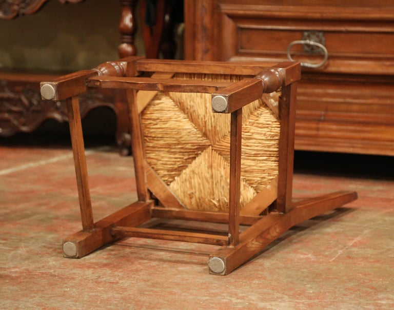 French Carved Oak Ladder Back Chairs with Rush Woven Seat, Set of Six For Sale 6