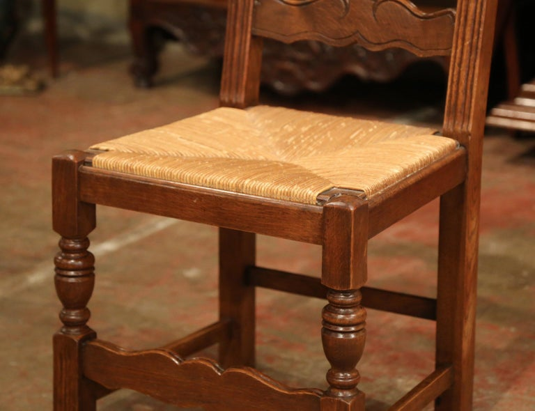 Country French Carved Oak Ladder Back Chairs with Rush Woven Seat, Set of Six For Sale
