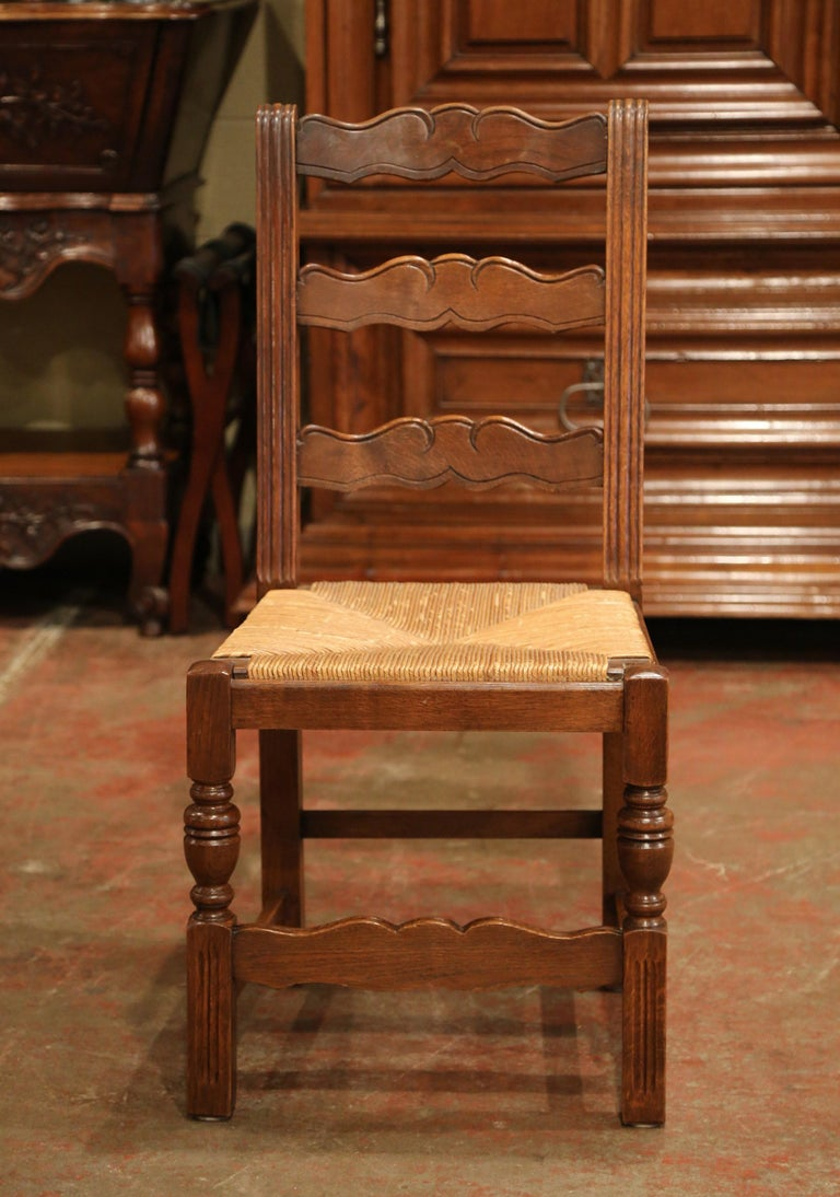 Hand-Carved French Carved Oak Ladder Back Chairs with Rush Woven Seat, Set of Six For Sale