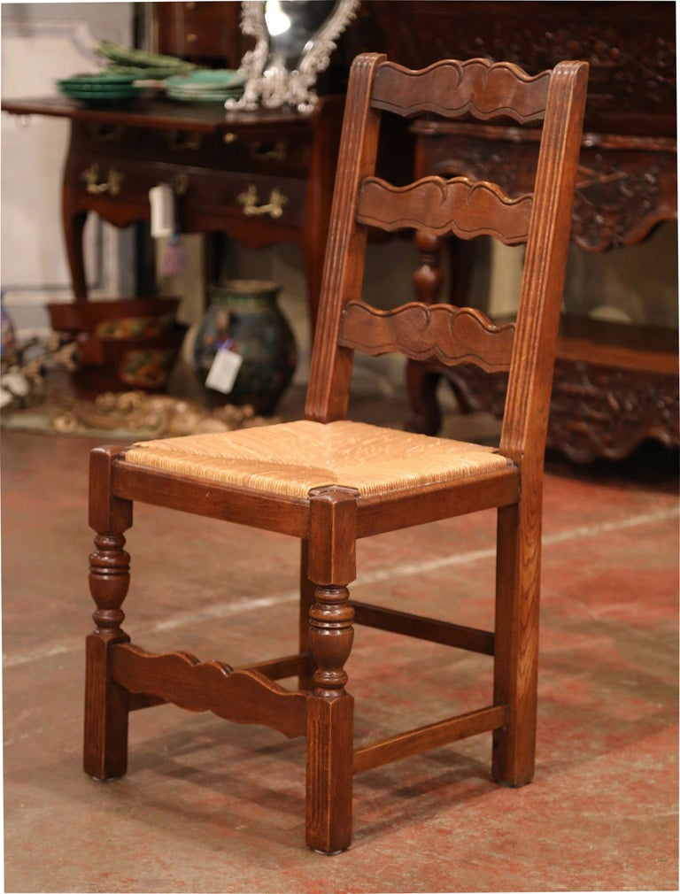 French Carved Oak Ladder Back Chairs with Rush Woven Seat, Set of Six In Excellent Condition For Sale In Dallas, TX