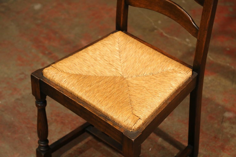 French Carved Oak Ladder Back Chairs with Rush Woven Seat, Set of Six For Sale 1