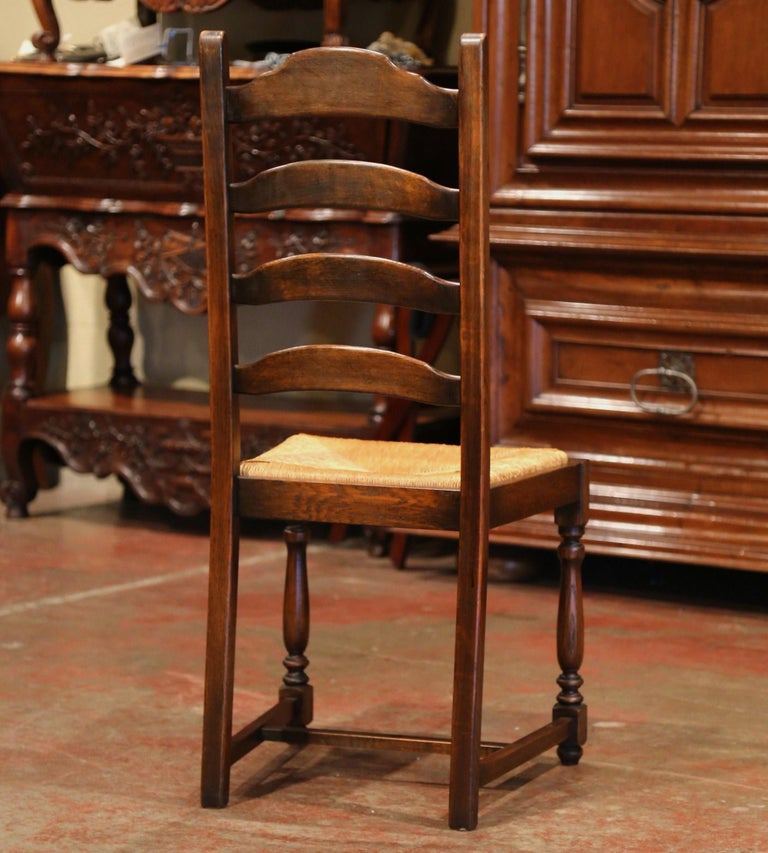 French Carved Oak Ladder Back Chairs with Rush Woven Seat, Set of Six For Sale 2