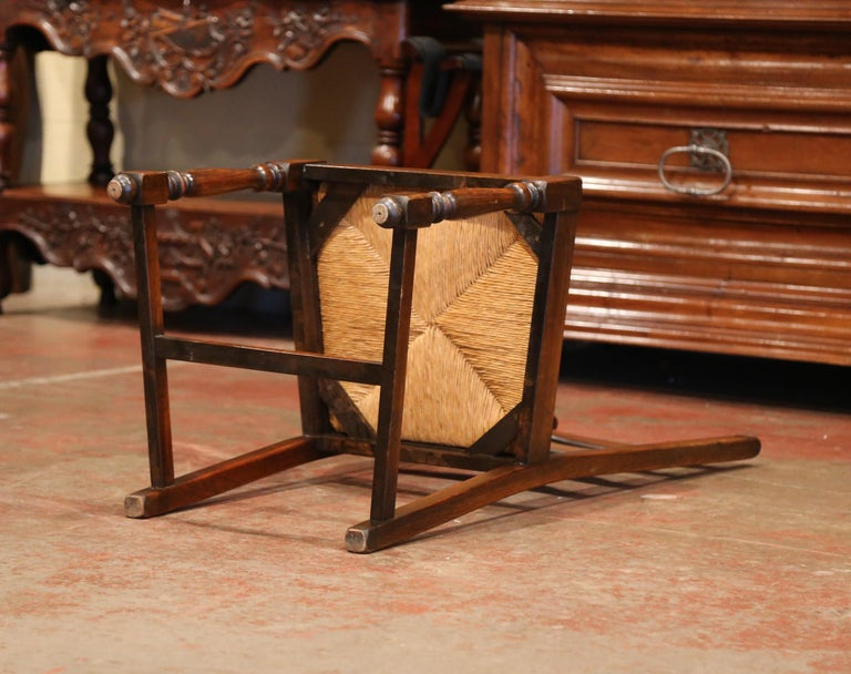 French Carved Oak Ladder Back Chairs with Rush Woven Seat, Set of Six For Sale 3