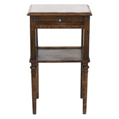 French Carved Oak Marble-Top Side Table
