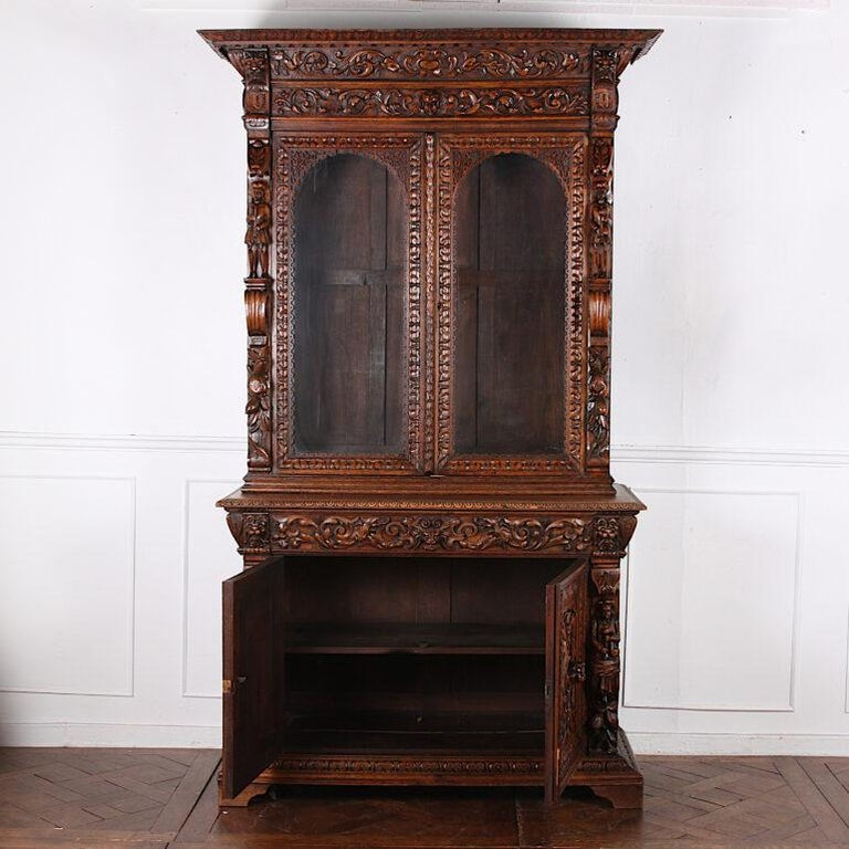 French Carved Oak Renaissance Revival Cabinet / Bookcase, C.1880 For Sale 7