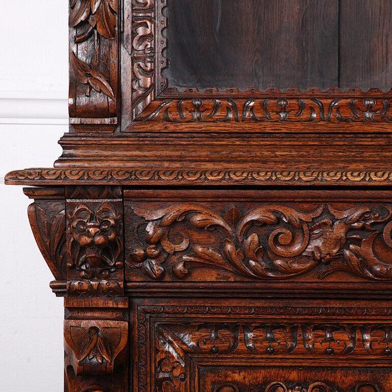 French Carved Oak Renaissance Revival Cabinet / Bookcase, C.1880 For Sale 8