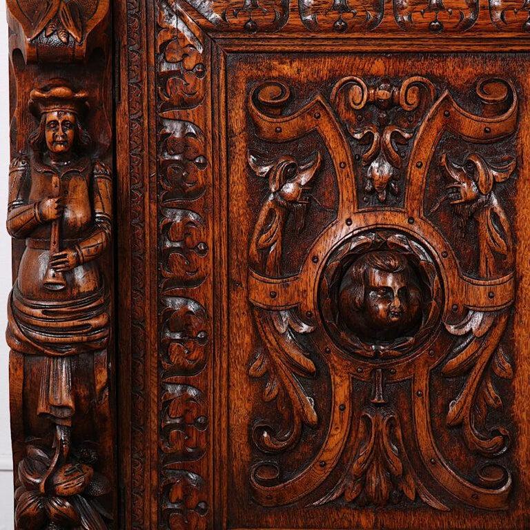 French Carved Oak Renaissance Revival Cabinet / Bookcase, C.1880 For Sale 9