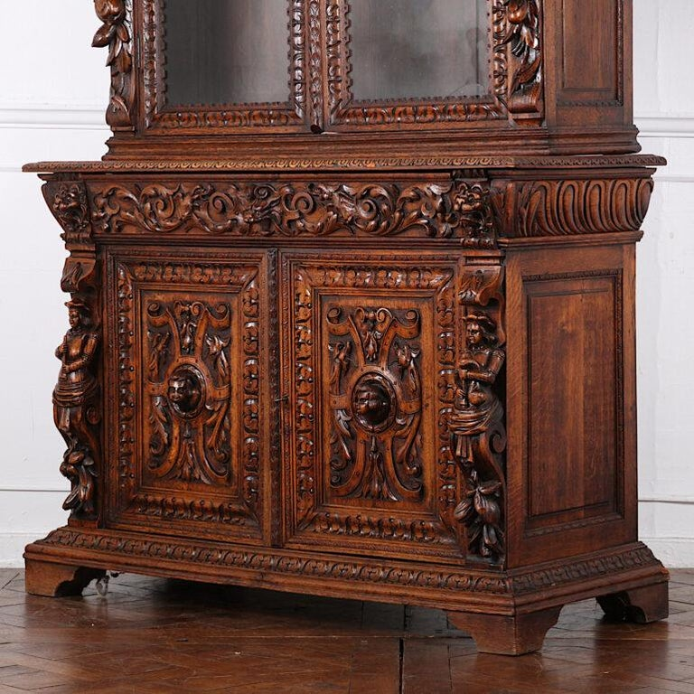 19th Century French Carved Oak Renaissance Revival Cabinet / Bookcase, C.1880 For Sale