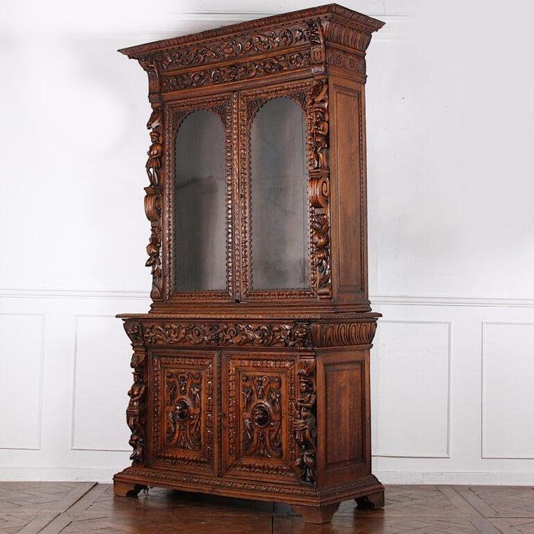 French Carved Oak Renaissance Revival Cabinet / Bookcase, C.1880 For Sale 1