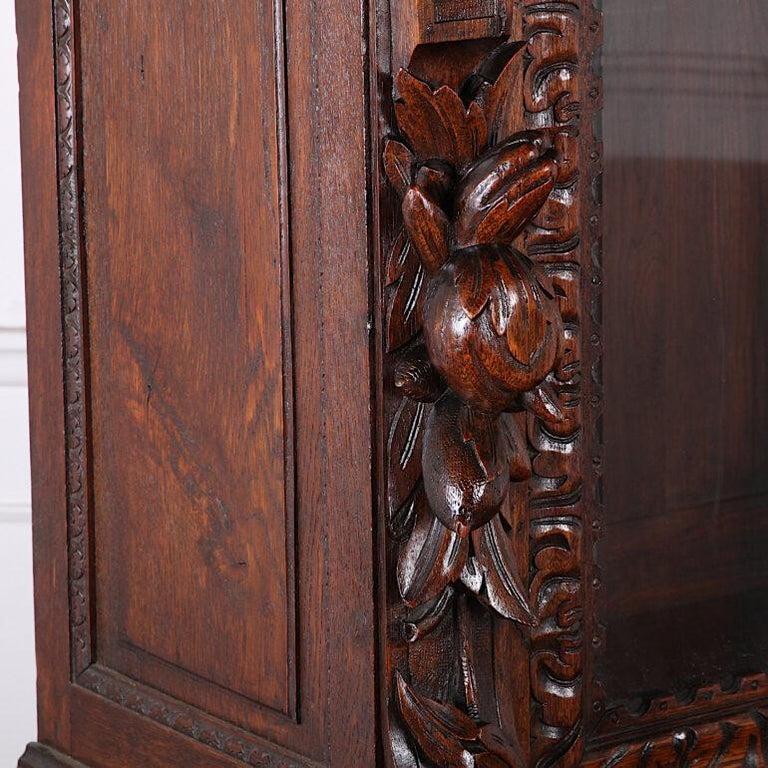 French Carved Oak Renaissance Revival Cabinet / Bookcase, C.1880 For Sale 2