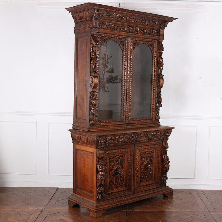 French Carved Oak Renaissance Revival Cabinet / Bookcase, C.1880 For Sale 4