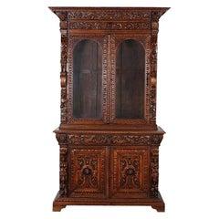 French Carved Oak Renaissance Revival Cabinet / Bookcase, C.1880