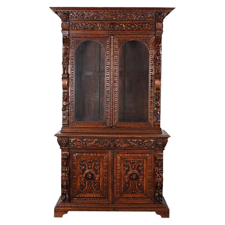 French Carved Oak Renaissance Revival Cabinet / Bookcase, C.1880 For Sale