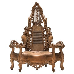 French Carved Oak Throne Chair