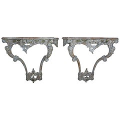 French Carved Painted Louis XV Style Consoles, a Pair