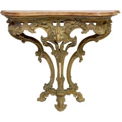 French Carved Pine Console Table with Rouge Marble Top