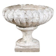 French Carved Stone 19th Century Garden Urn with Gadroon Motifs and Aged Patina