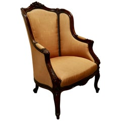 French Carved Walnut and Salon Chair, Upholstered in Silk