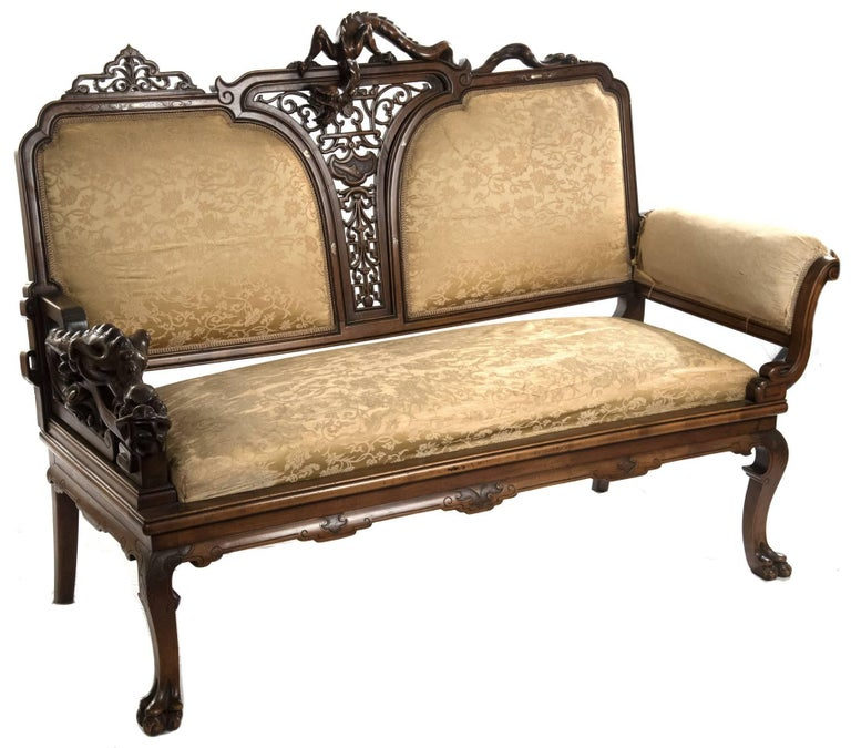 French Carved Walnut and Silk Upholstered Chinoiserie Seating Set In Good Condition For Sale In Salt Lake City, UT