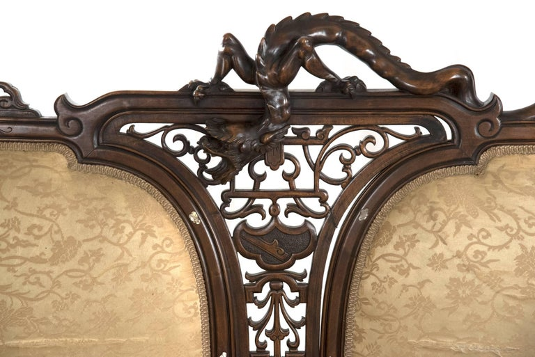 19th Century French Carved Walnut and Silk Upholstered Chinoiserie Seating Set For Sale