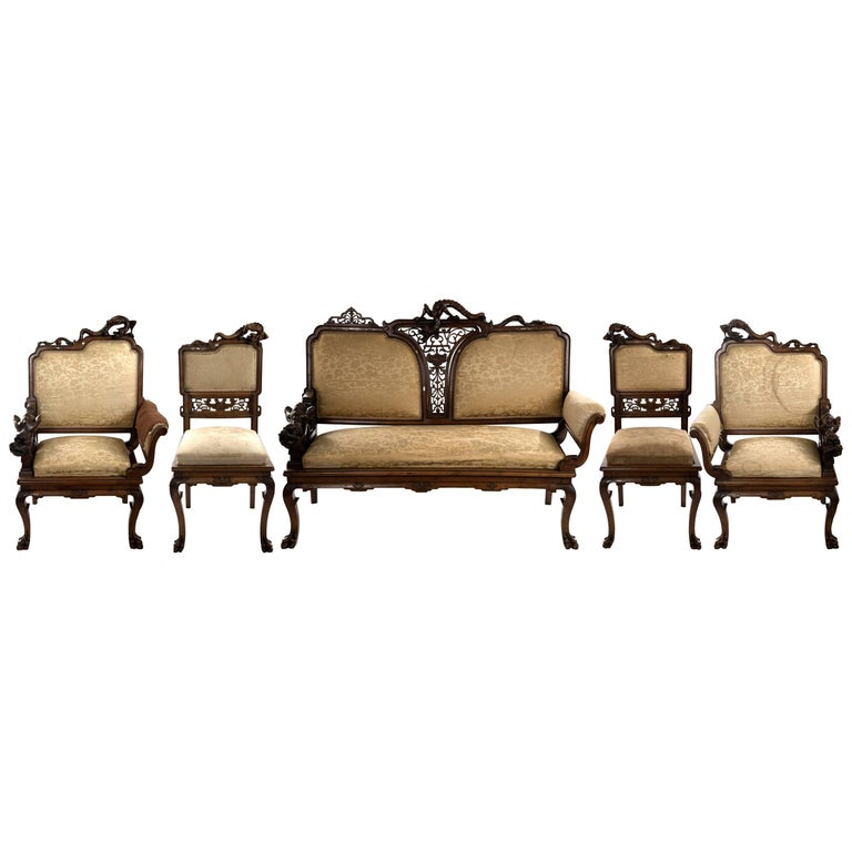 French Carved Walnut and Silk Upholstered Chinoiserie Seating Set For Sale