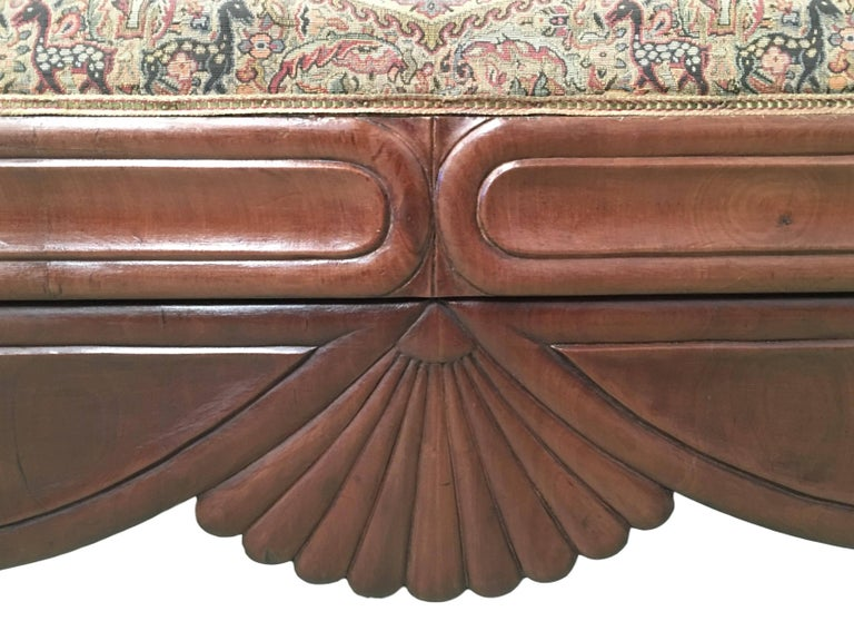Mid-19th Century French Carved Walnut Bench, Sofa, Daybed Upholstered in Original Damask For Sale