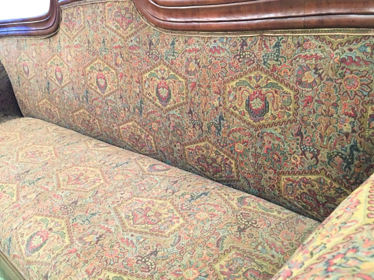 French Carved Walnut Bench, Sofa, Daybed Upholstered in Original Damask For Sale 1