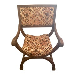 French Carved Walnut Curule Chair