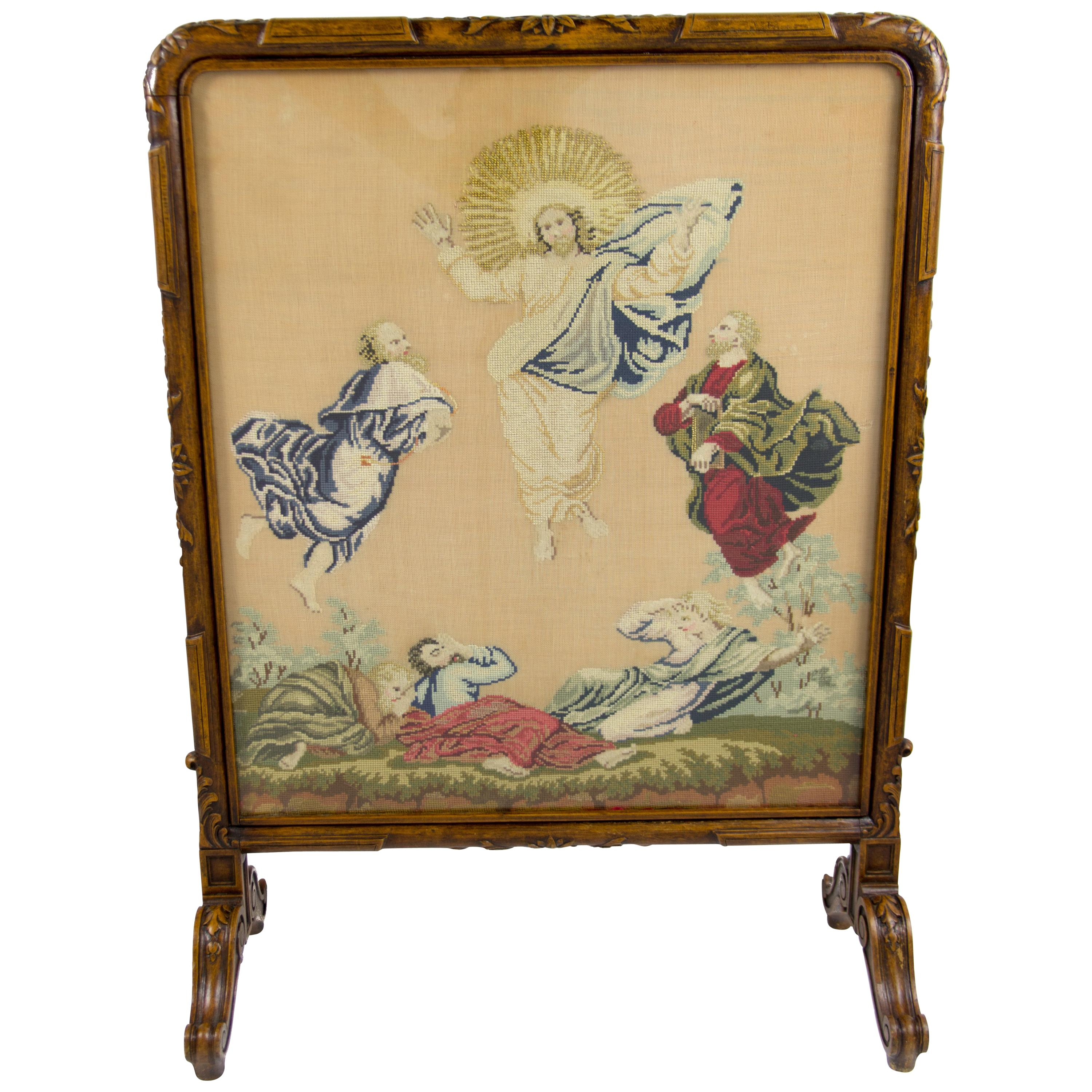 French Carved Walnut Fire Screen with Needlepoint Panel