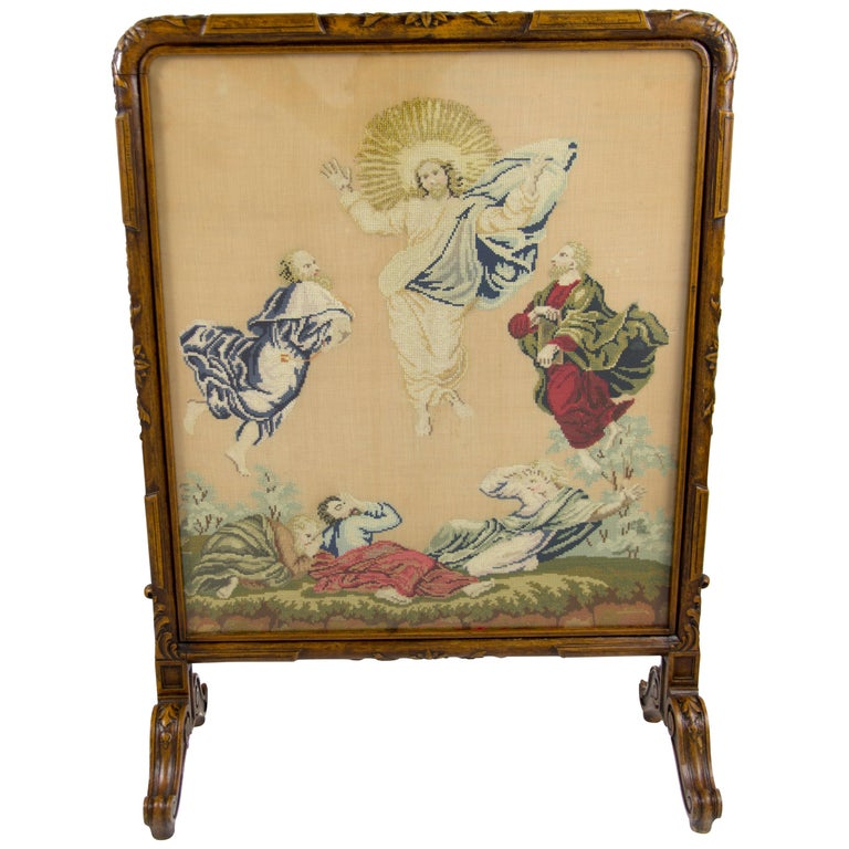 French Carved Walnut Fire Screen with Needlepoint Panel For Sale