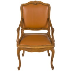 French Carved Walnut Leather Desk Armchair Fauteuil