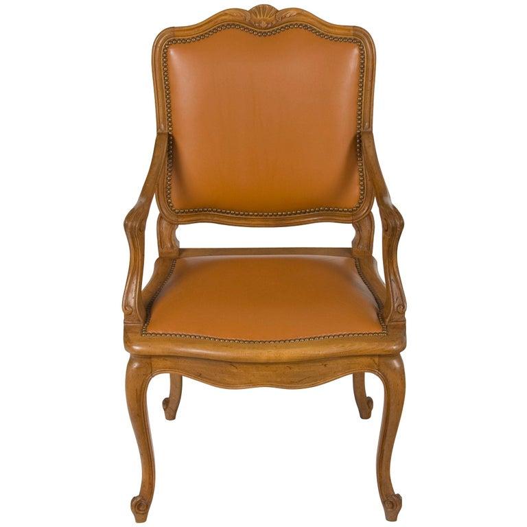 Französisch Nussbaum Leder Schreibtisch Sessel Fauteuil