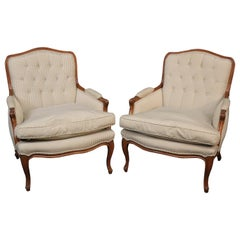 French Carved Walnut Louis XV Bergère Chairs with Tufted Backs, circa 1960, Pair