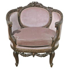 French Carved Walnut Louis XVI Style Canape Bergère Chair, Circa 1920