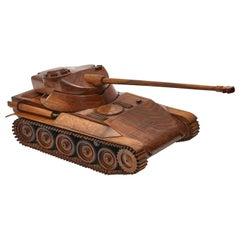 French Carved Walnut Reticulated Maquette AMX Tank, circa 1955