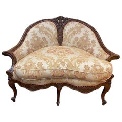 French Carved Walnut Settee