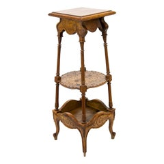 French Carved Walnut Three Tiered Stand