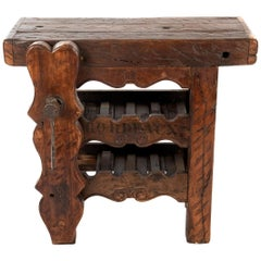 French Carved Walnut Work Bench with Wine Rack and Clamp for Sabering Champagne